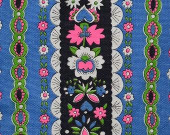 70s folk art floral fabric, Edelweiss trim inspired, Alpine fabric
