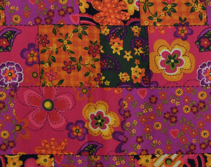Boho Floral fabric Mod floral patchwork fabric