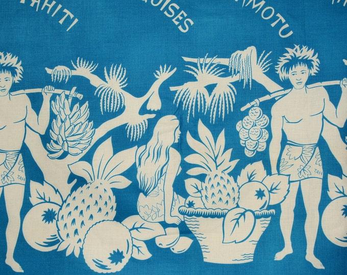 Vintage tropical fabric, Tahitian pareo pareau fabric border print fringless sarong