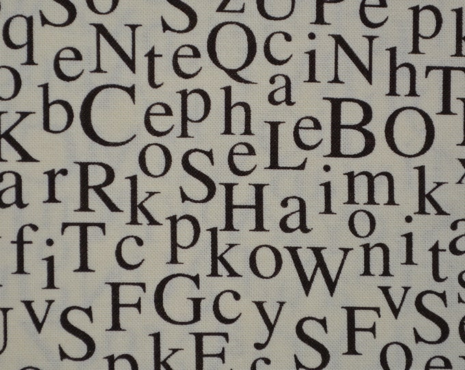 Alphabet letters fabric with typewriter letters by Michael Miller