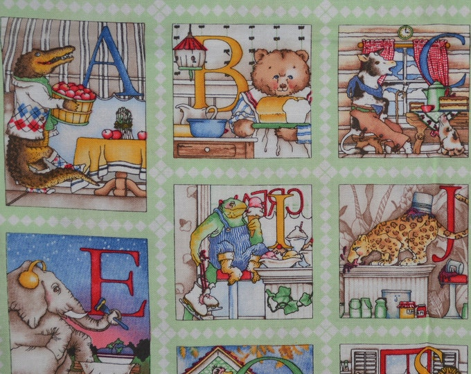 J Wecker Frisch fabric, Baby fabric, Hungry Animal, small alphabet blocks