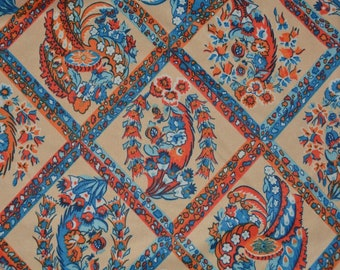 70s floral fabric stretch knit fabric vintage orange blue fabric