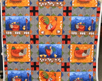 Chicken fabric panel, Timeless Treasures, whimsical cheater quilt