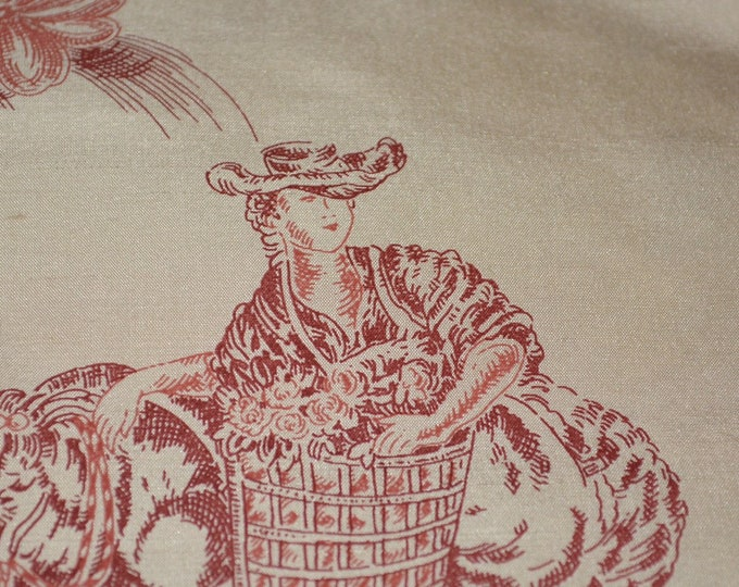 Vintage toile fabric, French silk toile