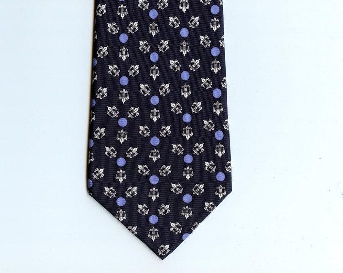 Blue silk neck tie, fleur de lis silk tie