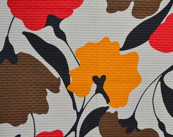 Marimekko style vintage fabric, large mod flowers, THC Hawaiian Textiles