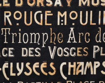 Travel to France fabric, Paris landmarks, French words, Windham fabric