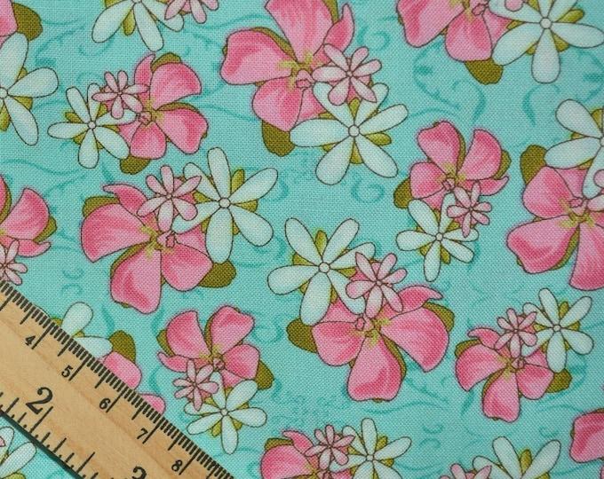 Hawaiian fabric pink hibiscus flower on teal floral fabric girls Hawaiian print Studio Fabric