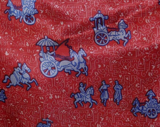Vintage satin fabric nylon novelty print vintage fabric red Rickshaw print