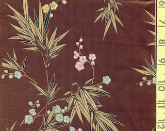 Vintage Asian fabric embroidered satin rayon with bamboo