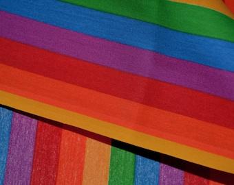 Rainbow stripe fabric, vintage fabric deadstock