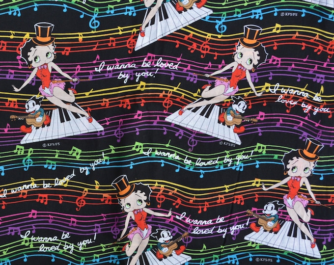 Betty Boop fabric, musical fabric with piano keyboard and bright rainbow colors