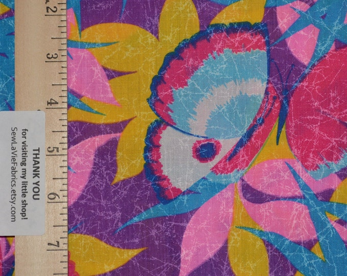 Vintage Butterfly print fabric 80s colors Hawaiian