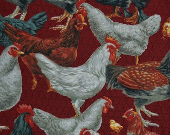 Farm Chickens fabric All Cooped up moda