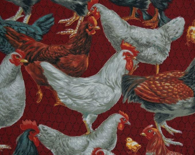 Chickens fabric, moda fabrics half yard, all cooped up