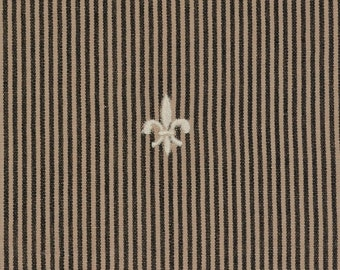 Embroidered fleur de lis Striped Upholstery fabric, deconstructed drapery