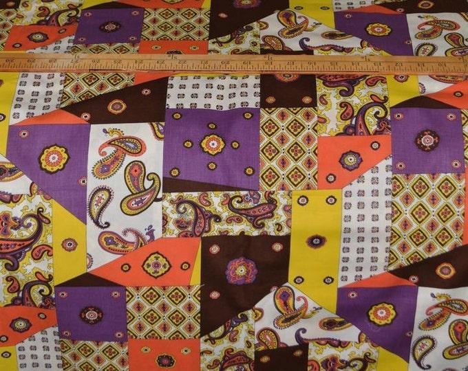 70s Hippie patchwork skirt fabric crazy quilt fabric quilty purple orange brown
