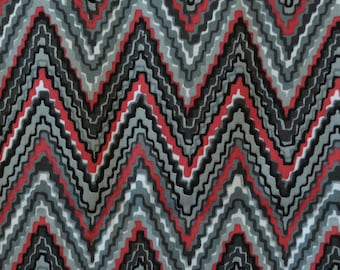Zig zag fabric Black grey red fabric flame stitch cotton twill
