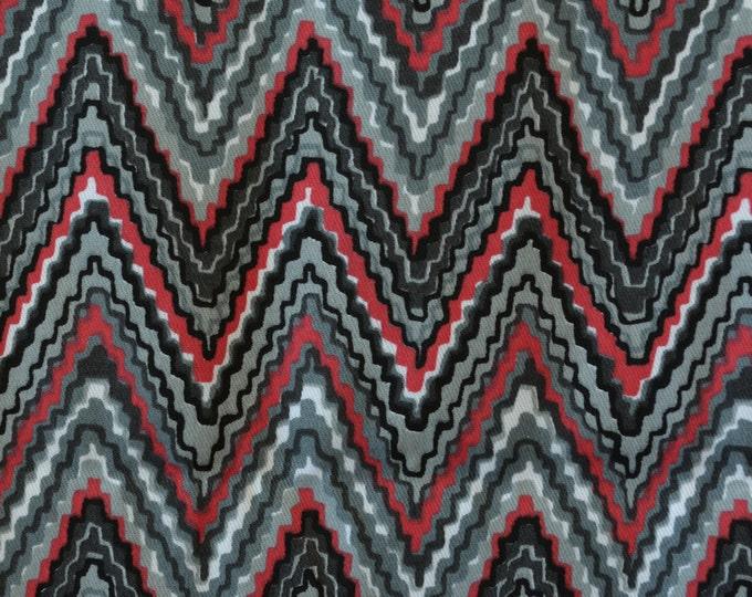 Black grey red denim fabric twill fabric half yard zig zag pattern tessellation