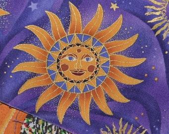Celestial fabric sun with face Robert Kaufman out of print