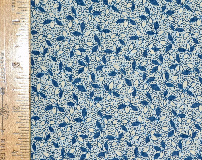 Tiny blue floral print fabric, reproduction fabric, feedsack style