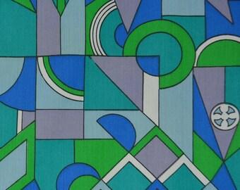 Modern geometric fabric, 1960s fabric