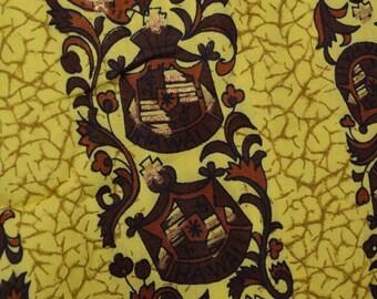 Rare fabric Vintage Hawaiian fabric by the yard yellow striped Hawaii coat of arms
