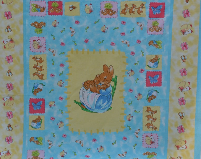 Baby Peter Rabbit fabric panel quilting nursery baby shower
