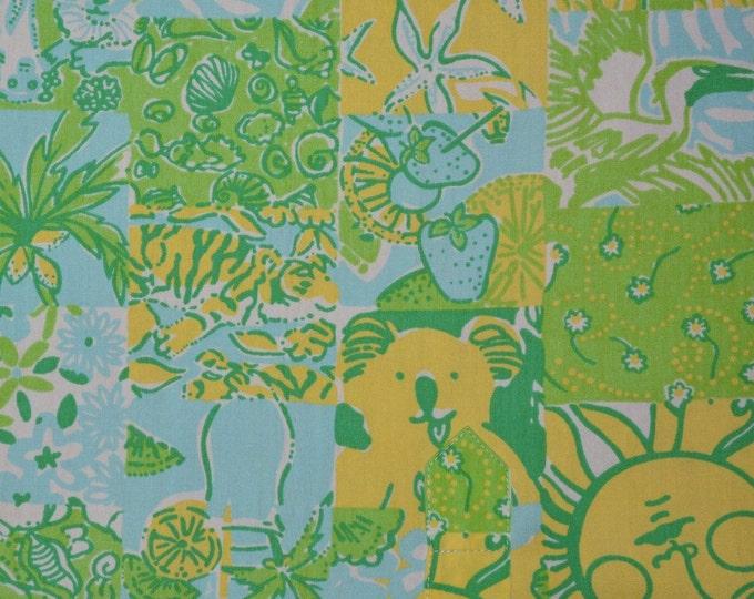 Vintage Lilly Pulitzer fabric squares remnants koala Key West fabric Zuzek