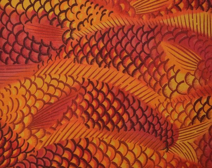 Orange yellow fabric Japanese fish abstract fish fabric fish scale fabric