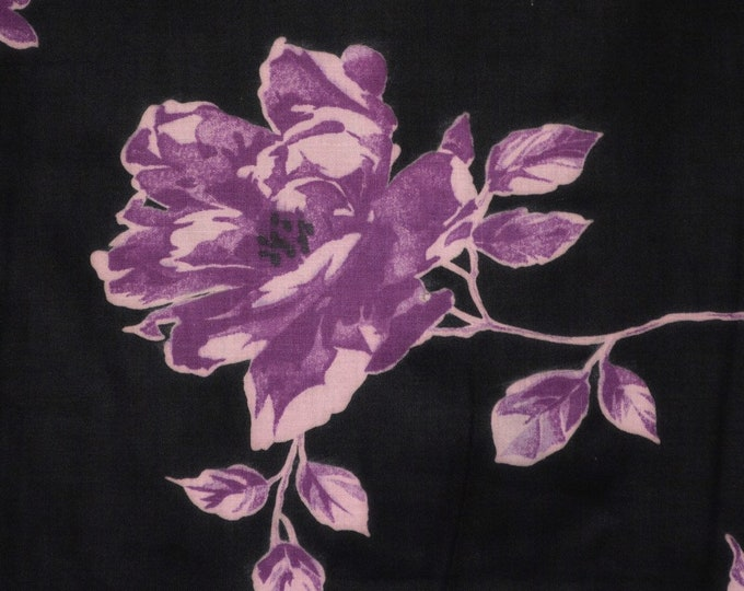Black rose fabric 50s Floral fabric black floral fabric lavender roses purple floral fabric