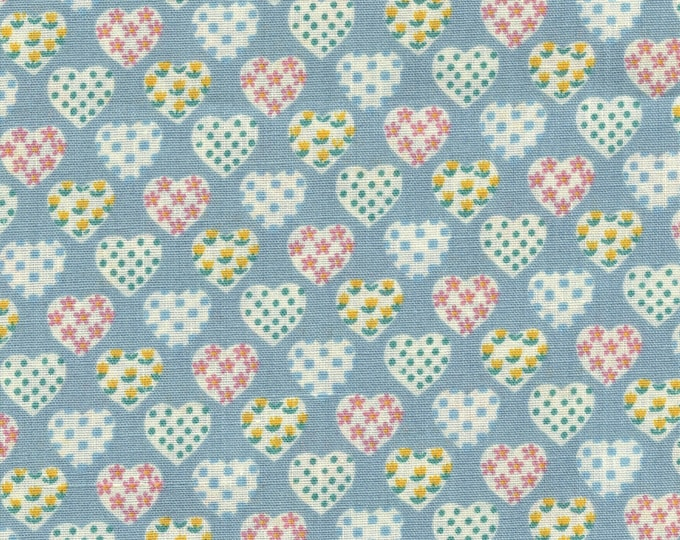 Small hearts vintage fabric, woven polyester fabric