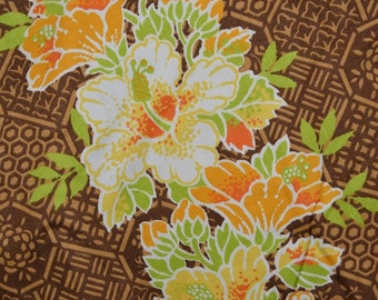 70s vintage fabric Tropical fabric Hawaiian floral hibiscus Waverly