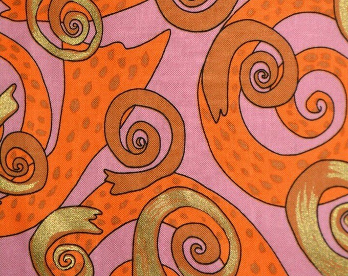 Groovy Orange pink fabric by the yard Terrie Mangat for Free Spirit fabric