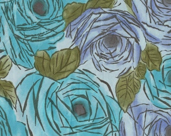 1970s floral satin polyester, blue roses abstract mod flowers
