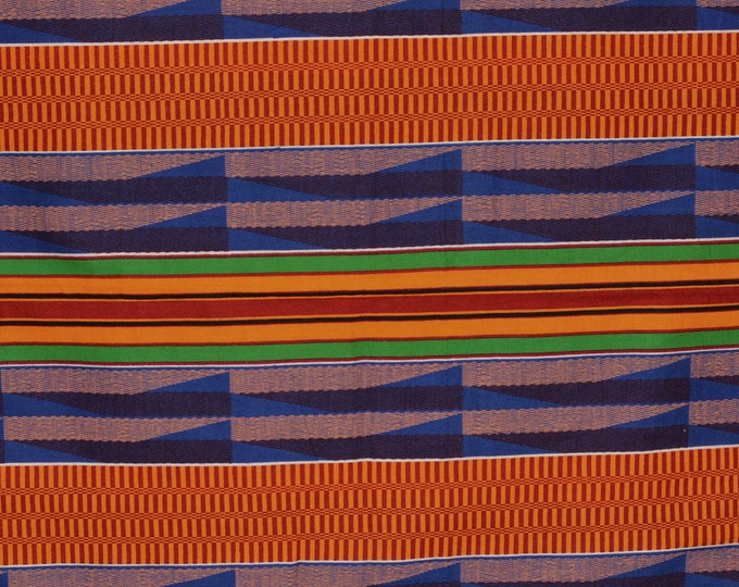 Geometric stripes print fabric, Kente African stripe fabric,