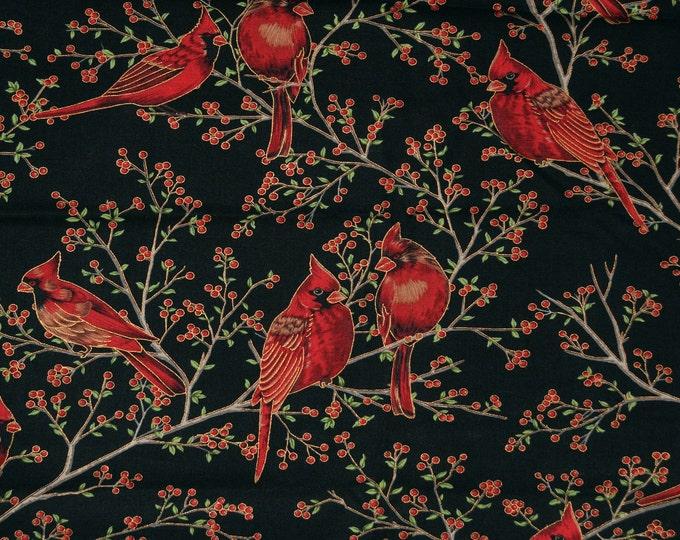Cardinal fabric, Winter birds fabric lot bundle