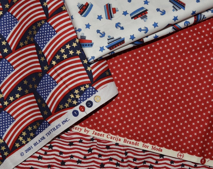 Patriotic fabric bundle, Stars and stripes Fabric, 4th of July fabric lot