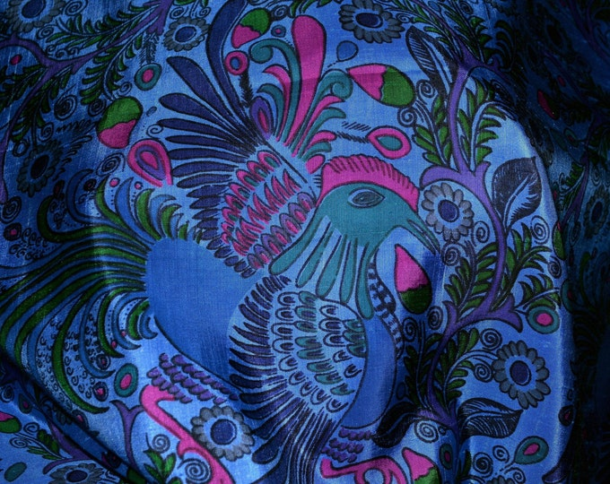 Indonesian silk saree fabric, blue peacock with selvage border