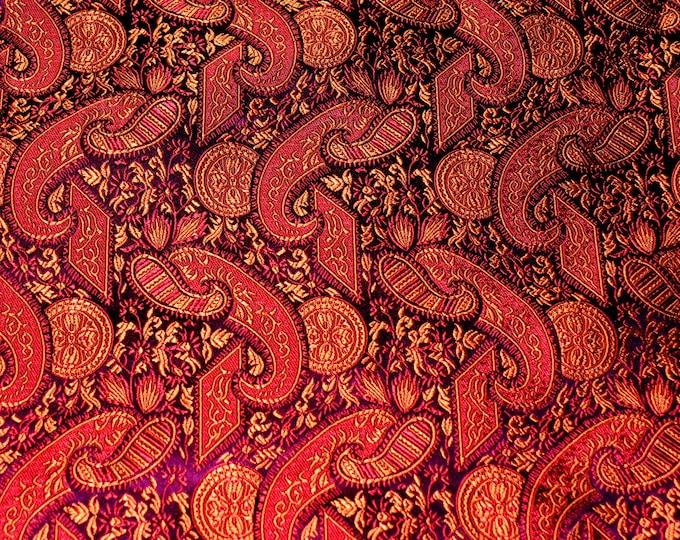 Chinese brocade fabric, embroidered paisley Arabesque Asian