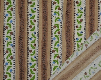 Floral striped fabric, 1940s cotton fabric