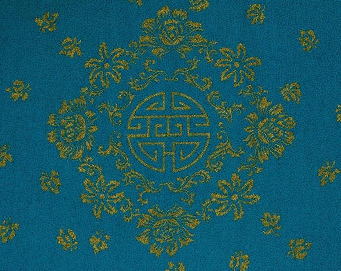 Sustainable fabric Hawaiian fabric THC Asian fabric metallic gold medallions on teal blue