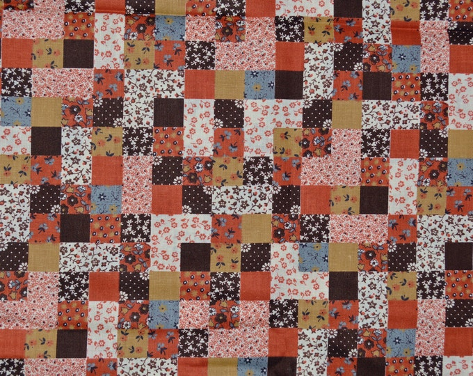 Vintage cheater quilt fabric, small Calico floral blocks, Cranston Print Works