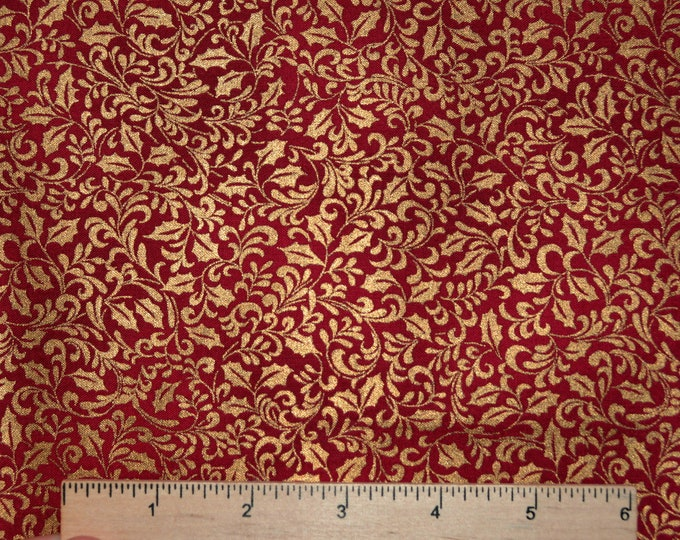 Hoffman Christmas fabric, Gold metallic and red holly