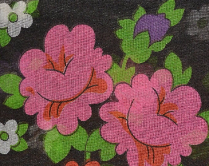 Black floral fabric semi sheer mod floral fabric with pattern