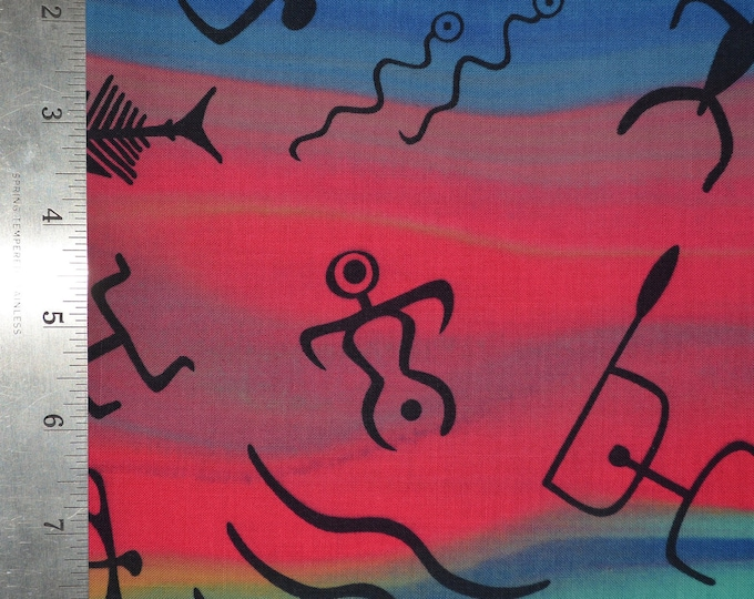 Tribal art fabric tie dyed with aboriginal art hieroglyph art