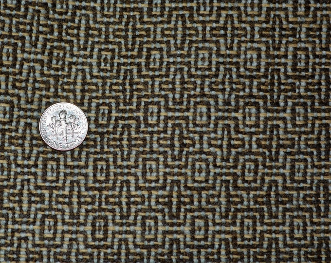Brown wool fabric geometric patterned light weight wool fabric