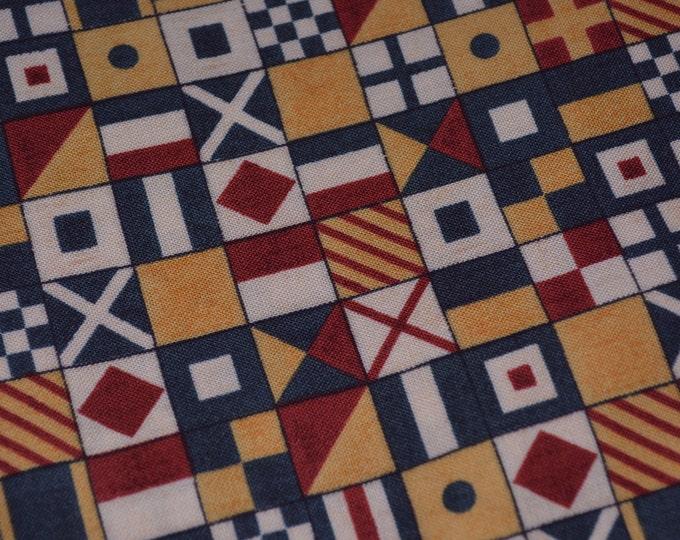 Nautical flags fabric sailing flags nautical baby boy half yard South Sea Imports David Carter Brown