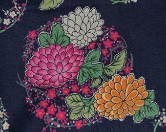Asian floral fabric dahlia peony chrysanthemums HanaMomen