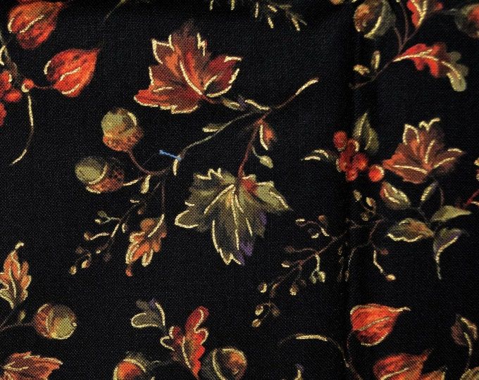 Fall fabric, Autumn leaves on black, P and B Textiles